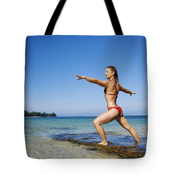 Woman doing yoga Tote Bag by Kicka Witte - Printscapes