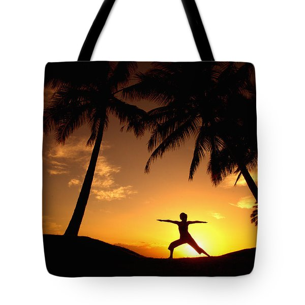 Yoga At Sunset Tote Bag by Ron Dahlquist - Printscapes