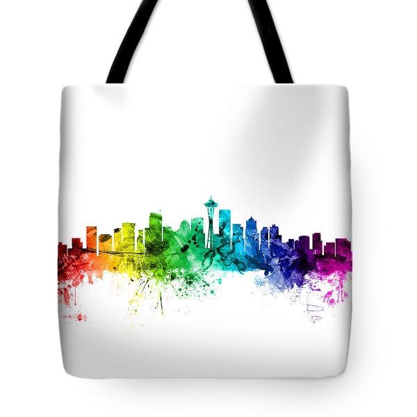 Seattle Washington Skyline Tote Bag by Michael Tompsett