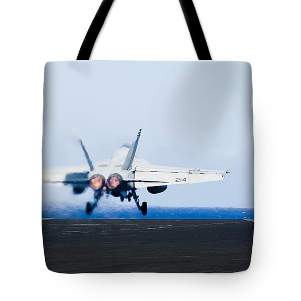 An Fa-18e Super Hornet Launches Tote Bag by Stocktrek Images