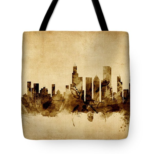 Chicago Illinois Skyline Tote Bag by Michael Tompsett