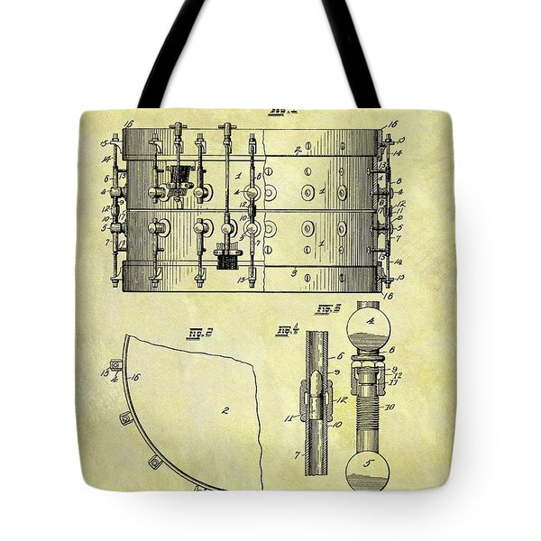 1900 Band Drum Patent Tote Bag by Dan Sproul