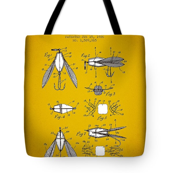 1926 Fishing Lure Patent - Yellow Brown Tote Bag by Aged Pixel