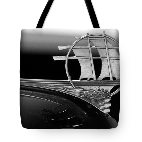 1934 Plymouth Hood Ornament Black And White Tote Bag by Jill Reger