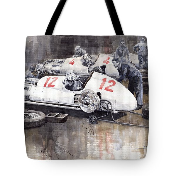 1938 Italian Gp Mercedes Benz Team Preparation In The Paddock Tote Bag by Yuriy  Shevchuk