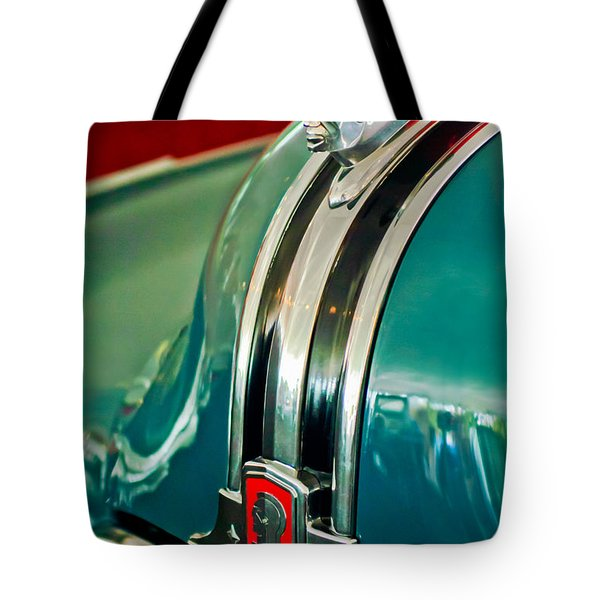 1948 Pontiac Streamliner Woody Wagon Hood Ornament Tote Bag by Jill Reger
