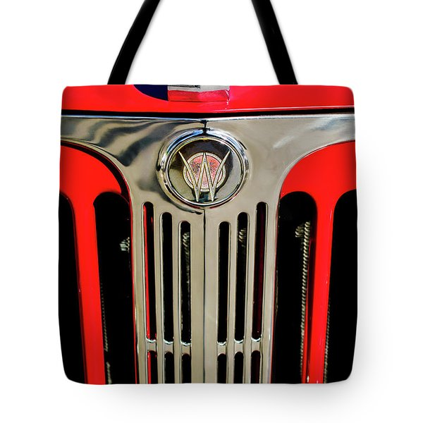 1949 Willys Jeepster Hood Ornament And Grille Tote Bag by Jill Reger