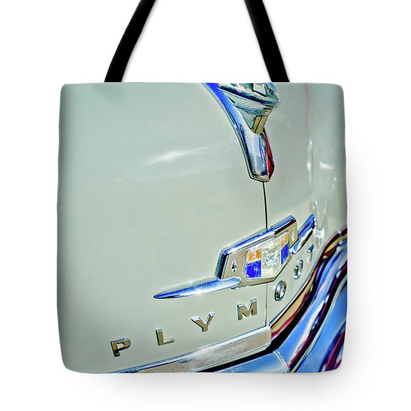 1950 Plymouth Coupe Hood Ornament Tote Bag by Jill Reger