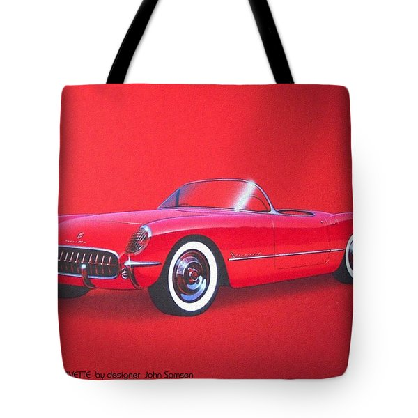 1953 Corvette Classic Vintage Sports Car Automotive Art Tote Bag by John Samsen