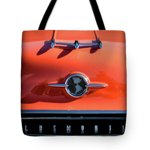1955 Oldsmobile Rocket 88 Hood Ornament Tote Bag by Jill Reger