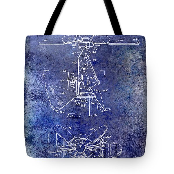 1956 Helicopter Patent Blue Tote Bag by Jon Neidert