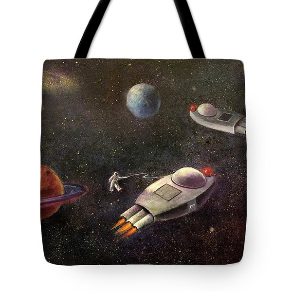 1960s Outer Space Adventure Tote Bag by Randy Burns aka Wiles Henly