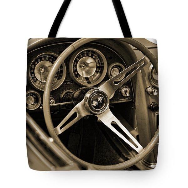 1963 Chevrolet Corvette Steering Wheel - Sepia Tote Bag by Gordon Dean II