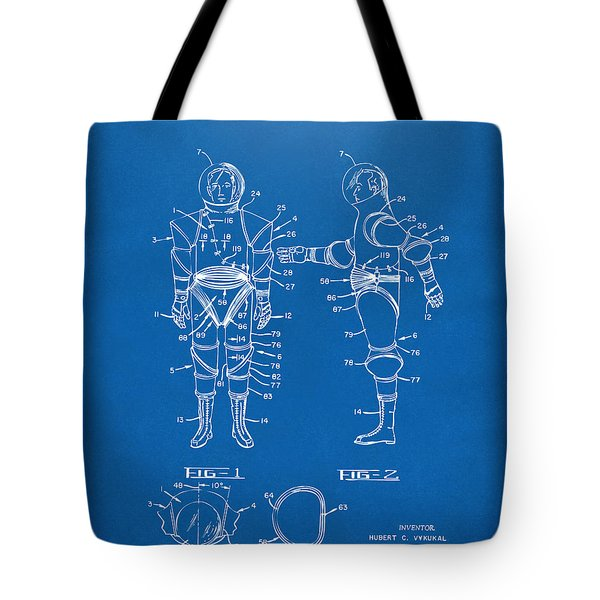 1968 Hard Space Suit Patent Artwork - Blueprint Tote Bag by Nikki Marie Smith