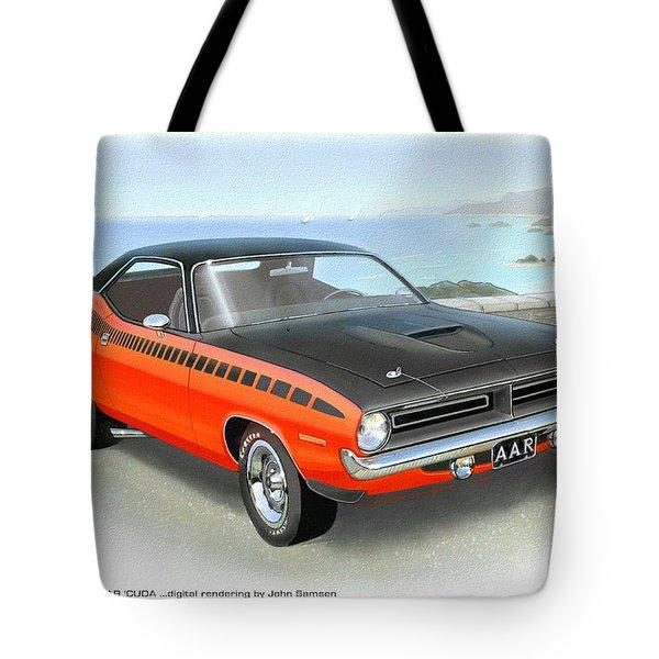 1970 Barracuda Aar  Cuda Classic Muscle Car Tote Bag by John Samsen