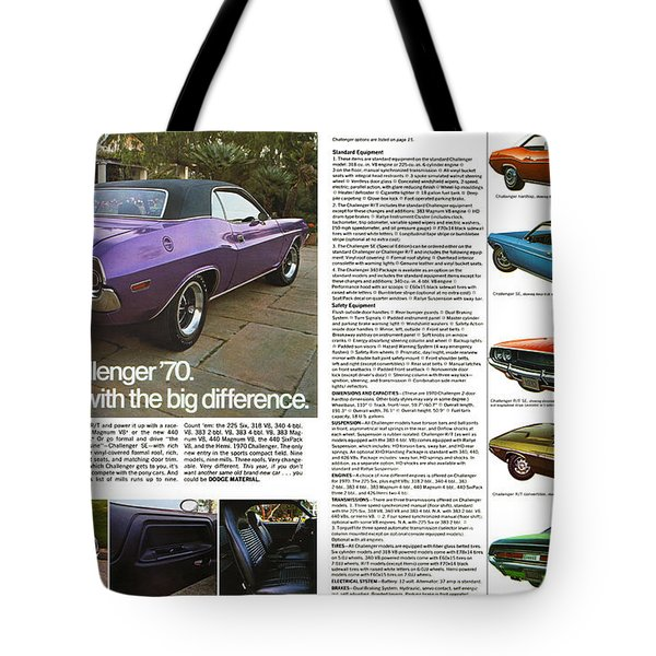 1970 Dodge Challenger Tote Bag by Digital Repro Depot