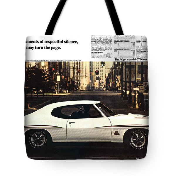 1970 Pontiac Gto The Judge  Tote Bag by Digital Repro Depot