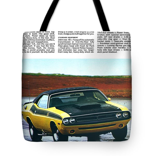 1971 Dodge Challenger T/a Tote Bag by Digital Repro Depot