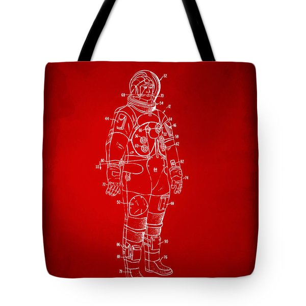 1973 Astronaut Space Suit Patent Artwork - Red Tote Bag by Nikki Marie Smith