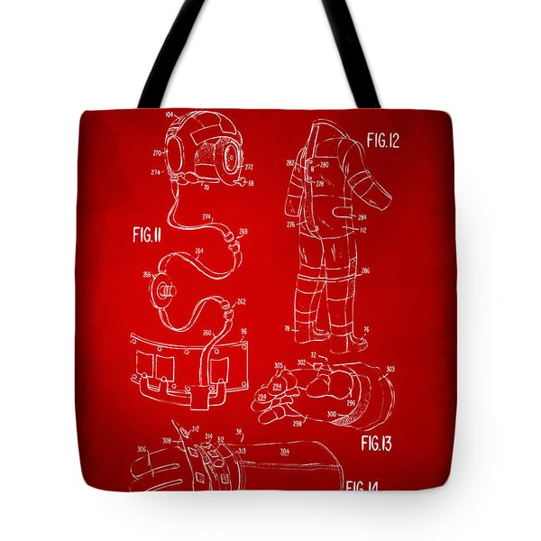 1973 Space Suit Elements Patent Artwork - Red Tote Bag by Nikki Marie Smith