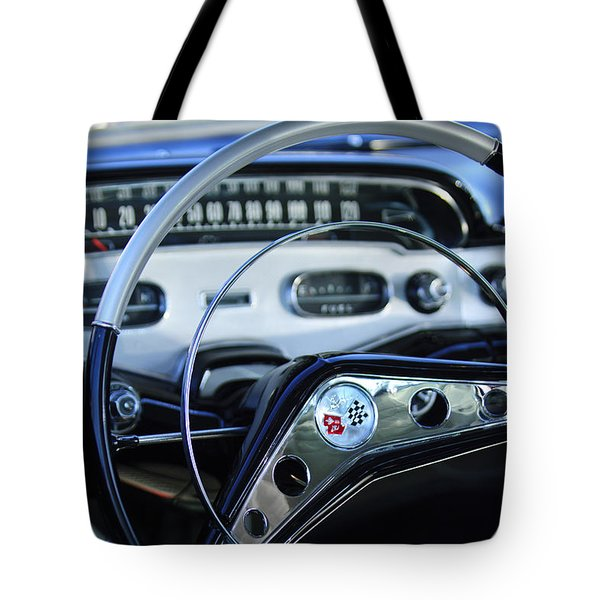 1958 Chevrolet Impala Steering Wheel Tote Bag by Jill Reger
