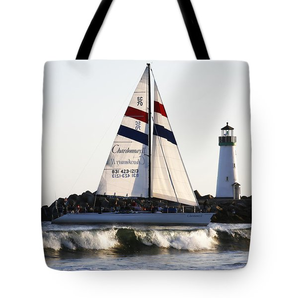 2 boats approach Tote Bag by Marilyn Hunt
