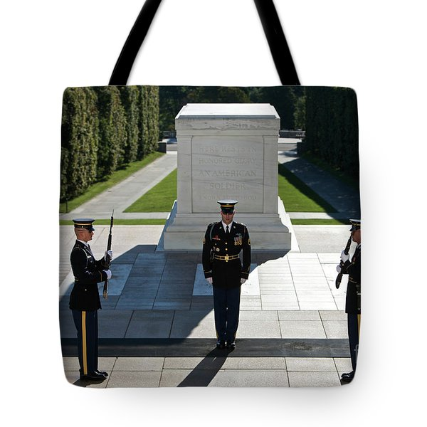 Changing Of Guard At Arlington National Tote Bag by Terry Moore