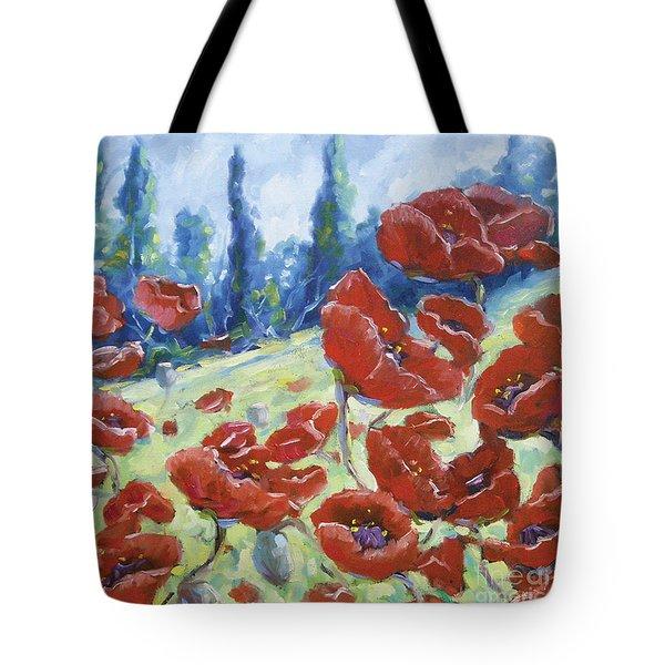 Dancing Poppies Tote Bag by Richard T Pranke