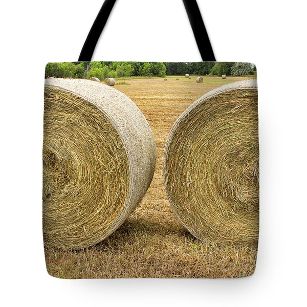 2 Freshly Baled Round Hay Bales Tote Bag by James BO  Insogna