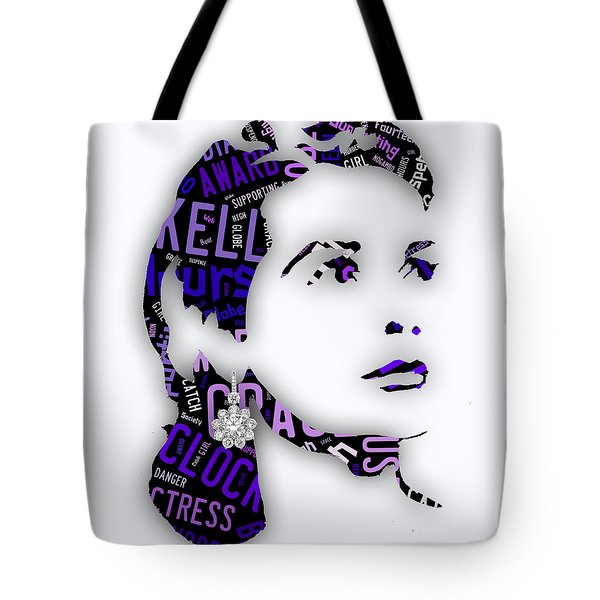 Grace Kelly Movies In Words Tote Bag by Marvin Blaine