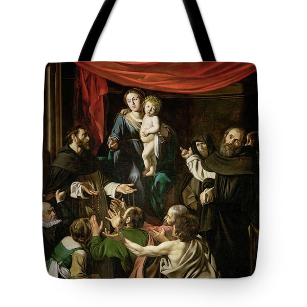 Madonna Of The Rosary Tote Bag by Caravaggio
