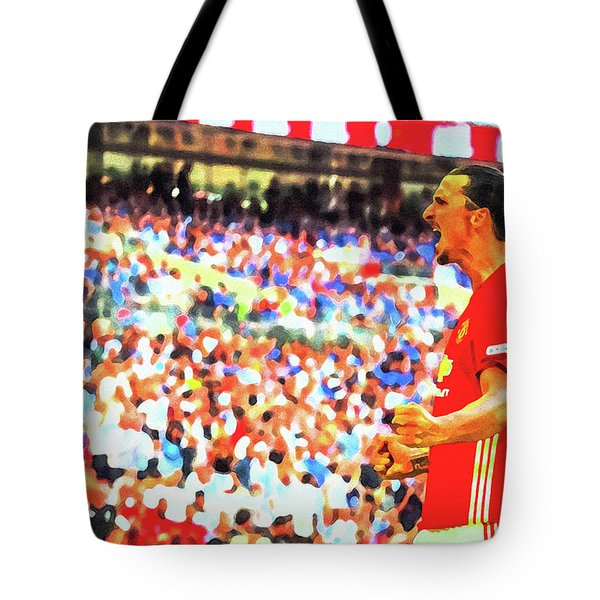 Manchester United's Zlatan Ibrahimovic Celebrates Tote Bag by Don Kuing