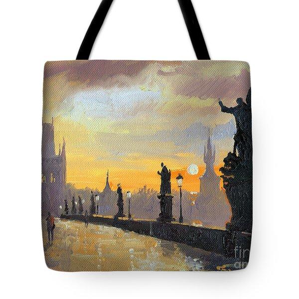 Prague Charles Bridge 01 Tote Bag by Yuriy  Shevchuk
