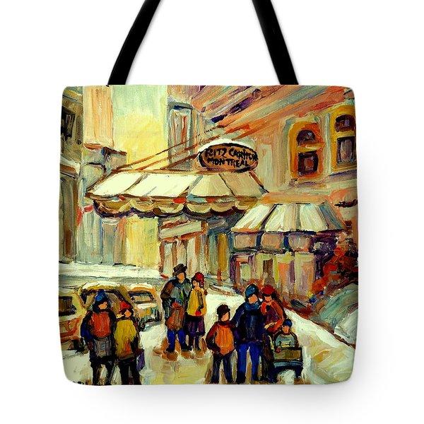 Ritz Carlton Montreal Streetscene Tote Bag by Carole Spandau