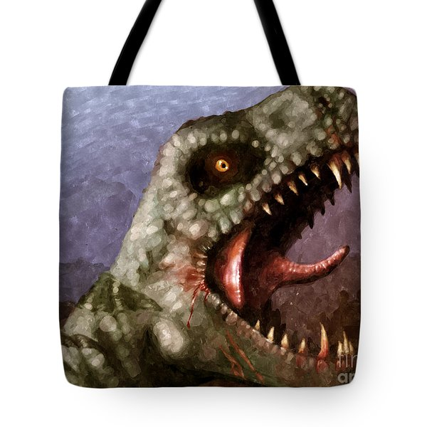 T-rex  Tote Bag by Pixel  Chimp
