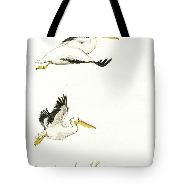 The Fox And The Pelicans Tote Bag by Juan Bosco