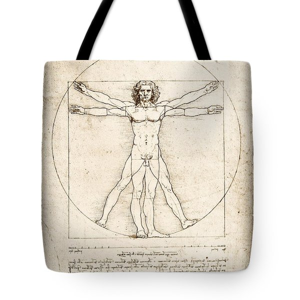 The Proportions Of The Human Figure Tote Bag by Leonardo Da Vinci