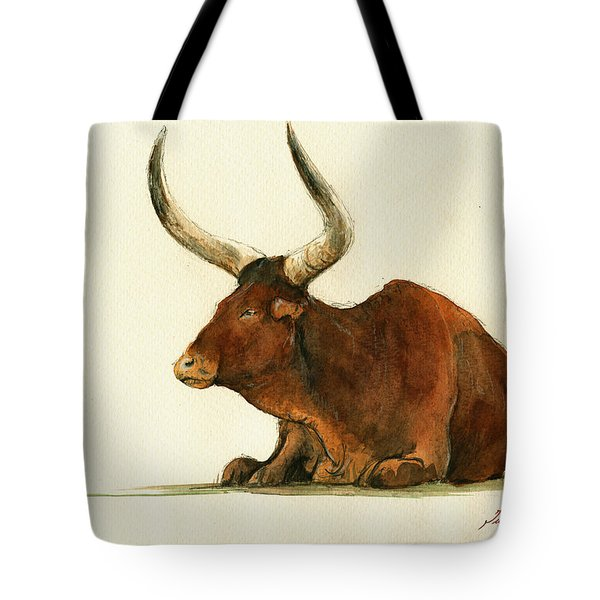 Zebu Cattle Art Painting Tote Bag by Juan  Bosco
