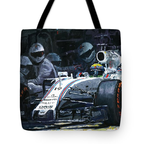 2015 Williams Fw37 F1 Pit Stop Spain Gp Massa  Tote Bag by Yuriy Shevchuk