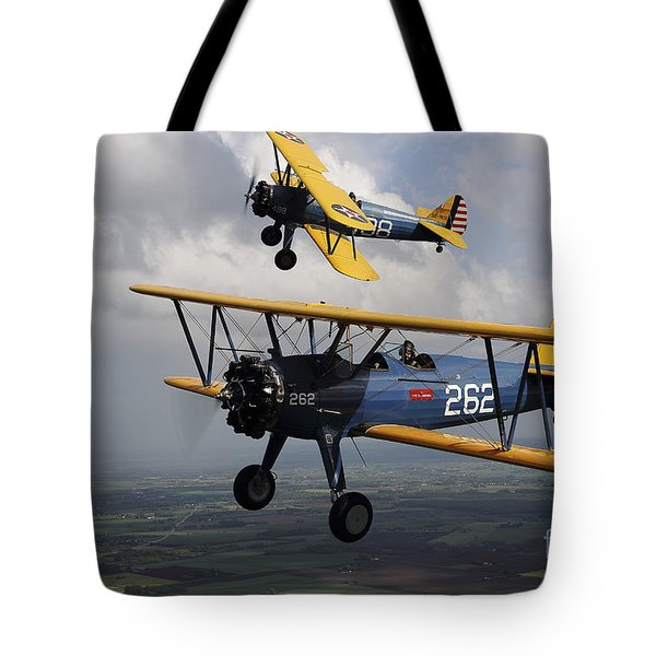 Boeing Stearman Model 75 Kaydet In U.s Tote Bag by Daniel Karlsson