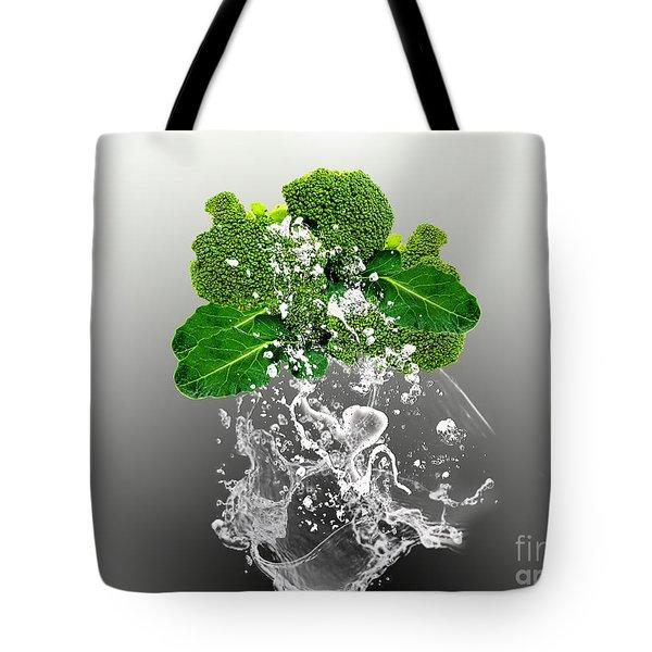 Broccoli Splash Tote Bag by Marvin Blaine