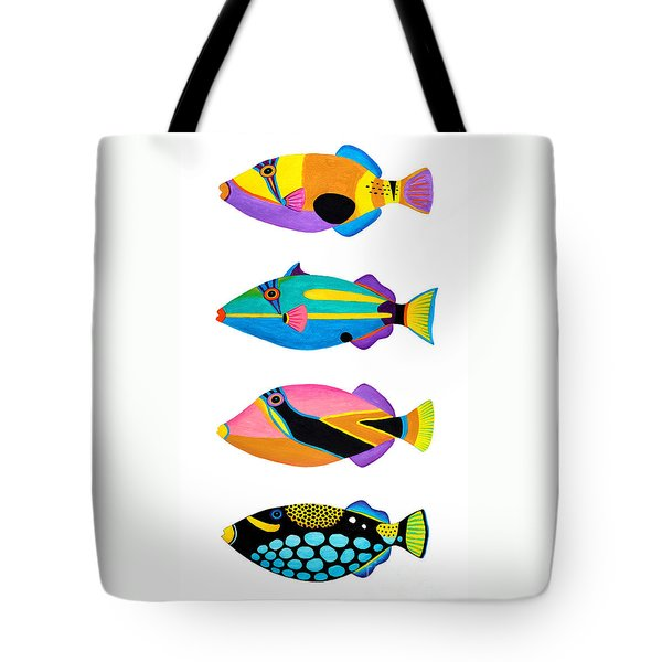 Collection Of Trigger Fishes Tote Bag by Opas Chotiphantawanon