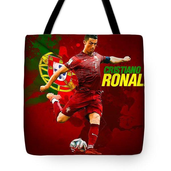 Cristiano Ronaldo Tote Bag by Semih Yurdabak