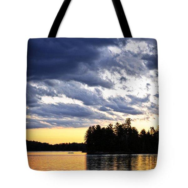Dramatic sunset at lake Tote Bag by Elena Elisseeva