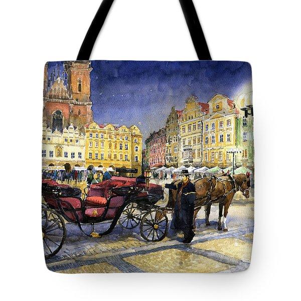 Prague Old Town Square Tote Bag by Yuriy  Shevchuk
