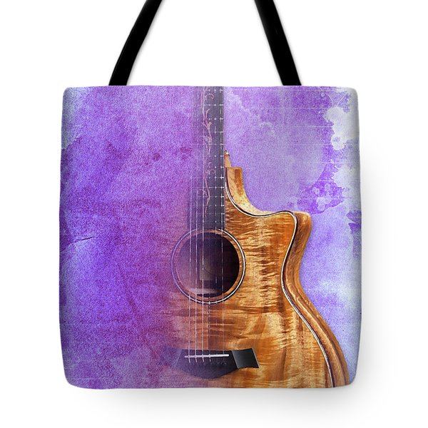 Taylor Inspirational Quote, Acoustic Guitar Original Abstract Art Tote Bag by Pablo Franchi