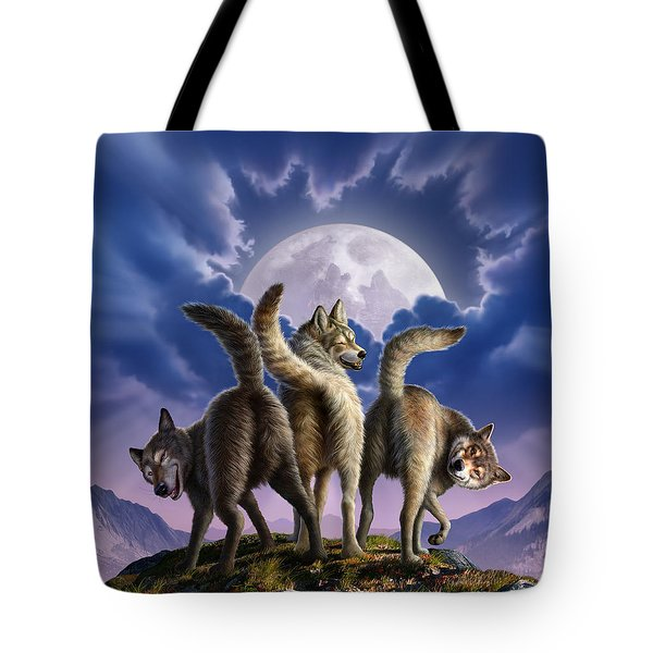 3 Wolves Mooning Tote Bag by Jerry LoFaro