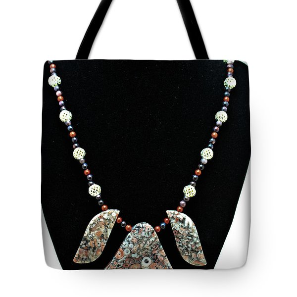 3521 Crinoid Fossil Jasper Necklace Tote Bag by Teresa Mucha