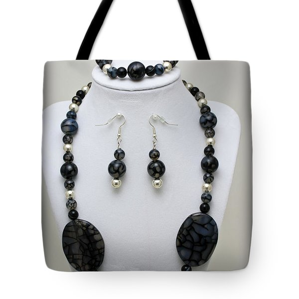 3548 Cracked Agate Necklace Bracelet And Earrings Set Tote Bag by Teresa Mucha