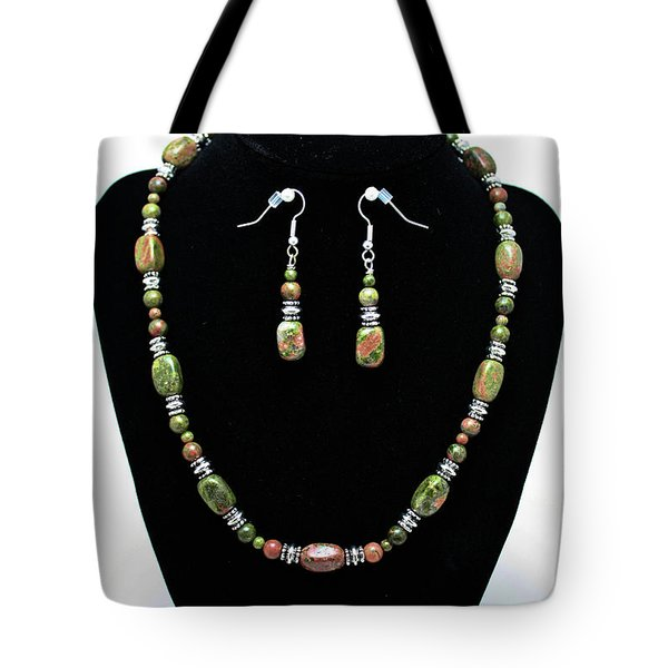 3565 Unakite Necklace And Earrings Set Tote Bag by Teresa Mucha
